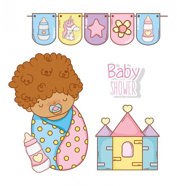 Chuveiro de bebê menino com mamadeira e casa Vetor Premium