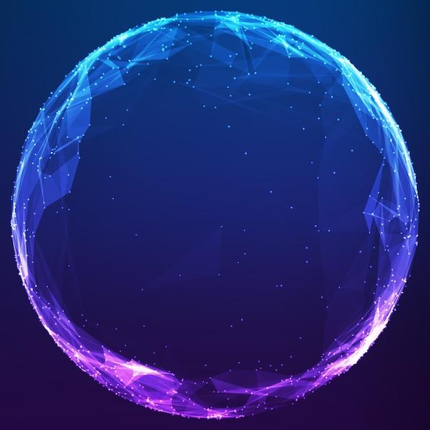 Ciber esfera poligonal abstrata Vetor grátis