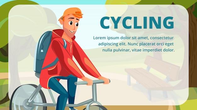 Ciclismo banner cartoon homem bicicleta esporte de verão Vetor Premium