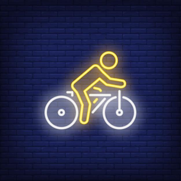 Ciclista, montando, bicicleta, sinal néon Vetor grátis
