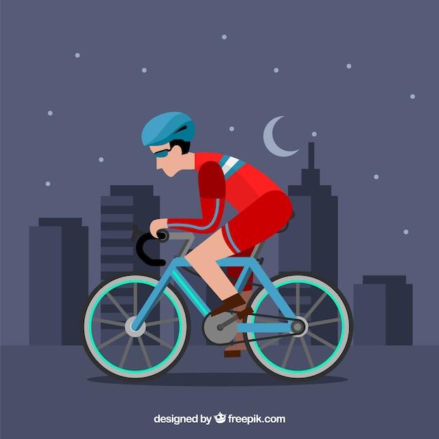 Ciclista profissional plano na cidade Vetor Premium