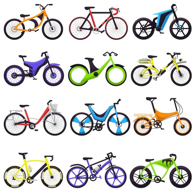 Ciclistas de bicicleta ciclismo conjunto Vetor Premium