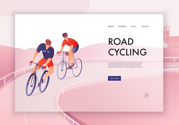 Ciclistas em capacetes durante o ciclismo de estrada turnê conceito de banner web Vetor grátis