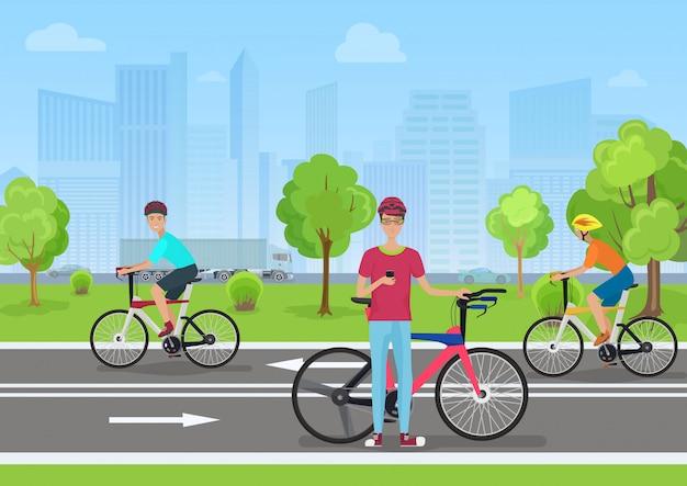 Ciclistas no parque público da cidade Vetor Premium