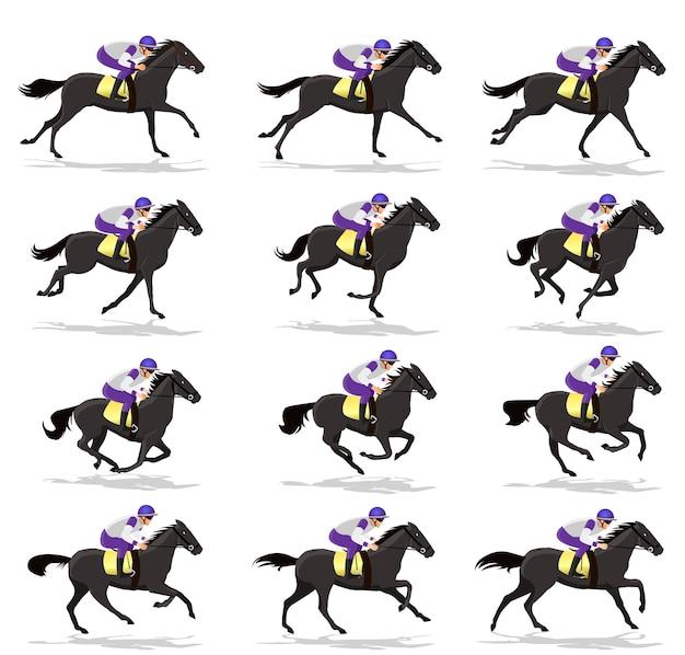 Ciclo de corrida de cavalos escuros Vetor Premium