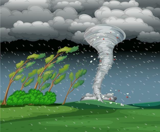 Ciclone na tempestade chuvosa Vetor Premium