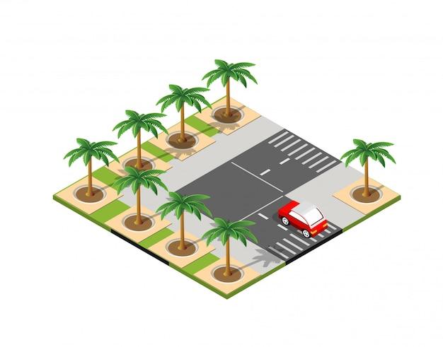 Cidade 3d isométrica de estrada Vetor Premium
