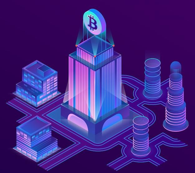 Cidade 3d isométrica em cores ultra violetas com o bitcoin sobre o arranha-céus. Vetor grátis