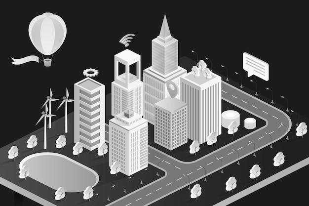 Cidade 3d isométrica em preto e branco com modernos edifícios de escritórios de hotéis de bancos e apartamentos em casas geminadas Vetor Premium
