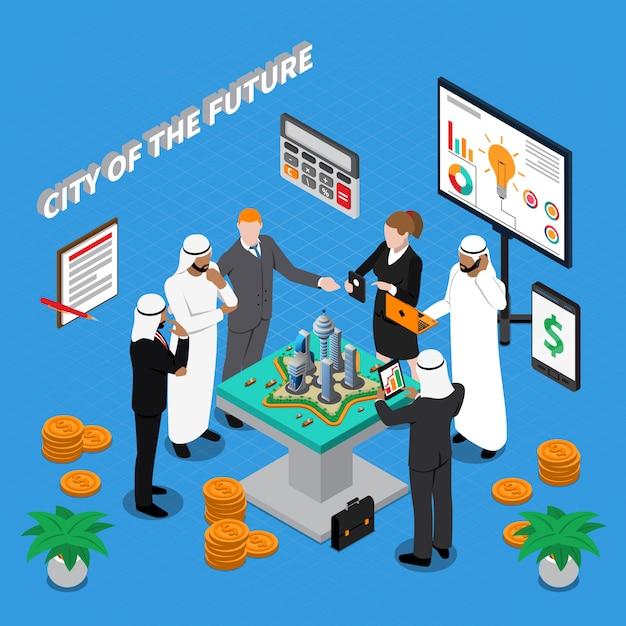 Cidade árabe da futura composição isométrica Vetor grátis