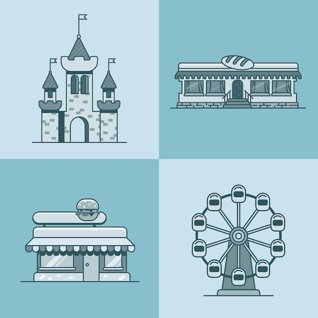 Cidade arquitetura cidade castelo roda gigante padaria fast food restaurante café conjunto Vetor Premium