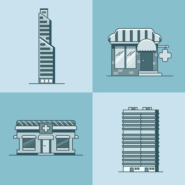 Cidade arranha-céu casa hospital farmácia drogaria arquitetura edifício conjunto Vetor Premium