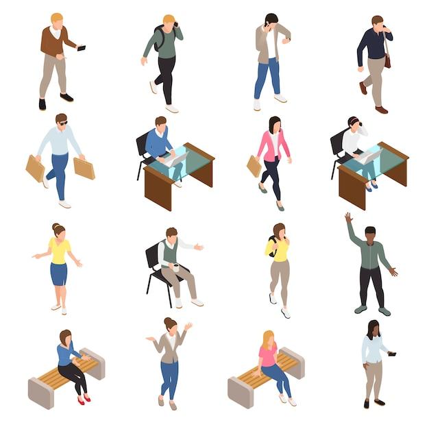 Cidade casual pessoas isométrica ícones conjunto com trabalho e símbolos de tempo livre isolado ilustração Vetor grátis