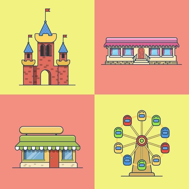 Cidade cidade arquitetura castelo roda gigante padaria fast food restaurante café conjunto de edifícios. ícones de estilo simples de contorno de traço linear. coleção de ícone de arte de linha multicolor. Vetor Premium