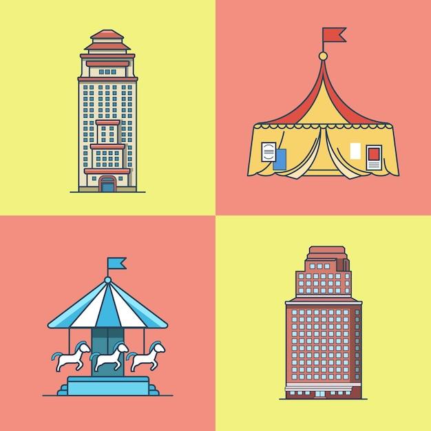 Cidade cidade arranha-céu casa atrações parque circo carrossel arquitetura edifício conjunto. ícones de estilo simples de contorno de traço linear. coleção de ícones de várias cores. Vetor Premium