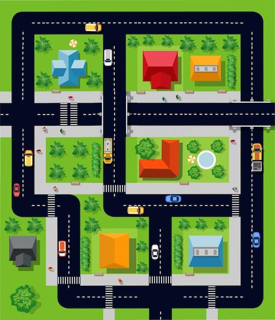 Cidade com casas Vetor Premium