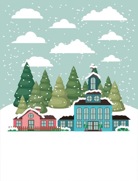 Cidade com igreja em snowscape Vetor grátis
