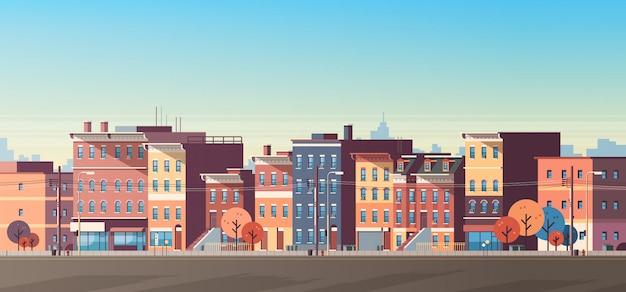 Cidade construção casas vista horizonte banner Vetor Premium