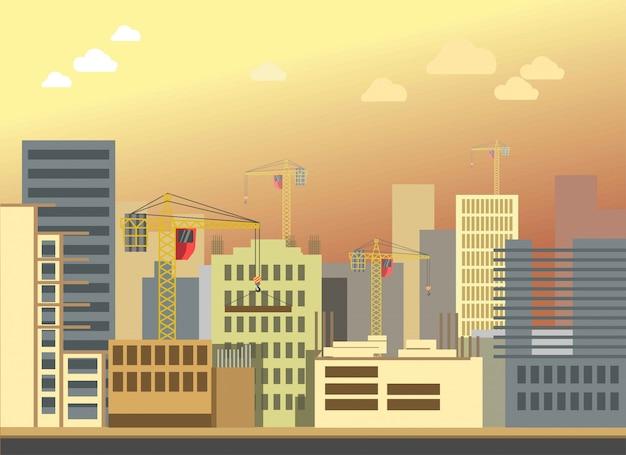 Cidade construção construção paisagem vector apartamento moderno panorama Vetor Premium