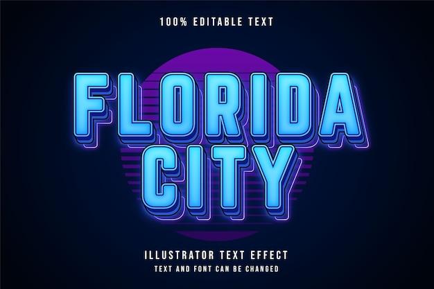Cidade da flórida, estilo de texto editável em 3d com efeito de texto em gradação azul e sombra de néon roxo Vetor Premium