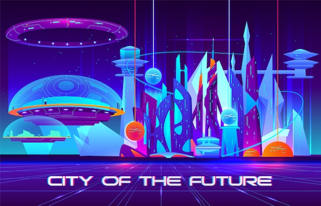 Cidade da futura bandeira dos desenhos animados. arquitetura futurista arranha-céus edifícios fluorescentes Vetor grátis