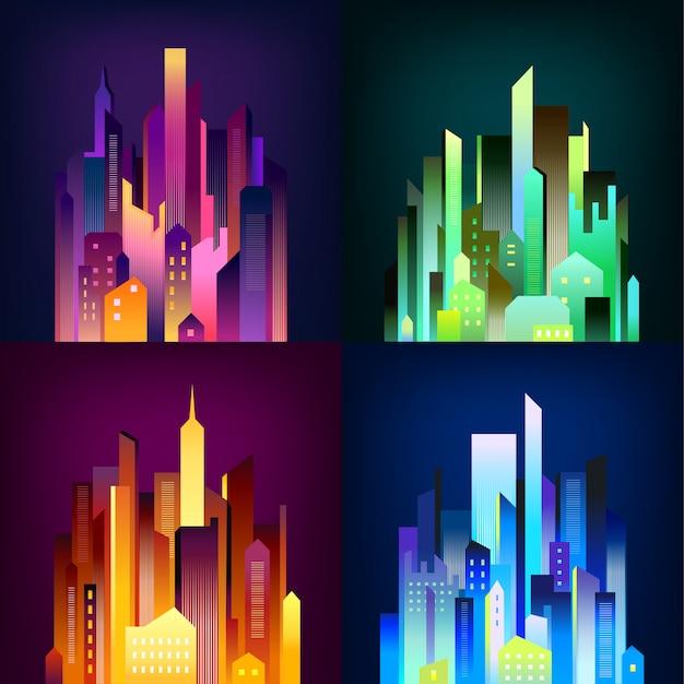 Cidade da noite iluminada 4 ícones poster Vetor grátis