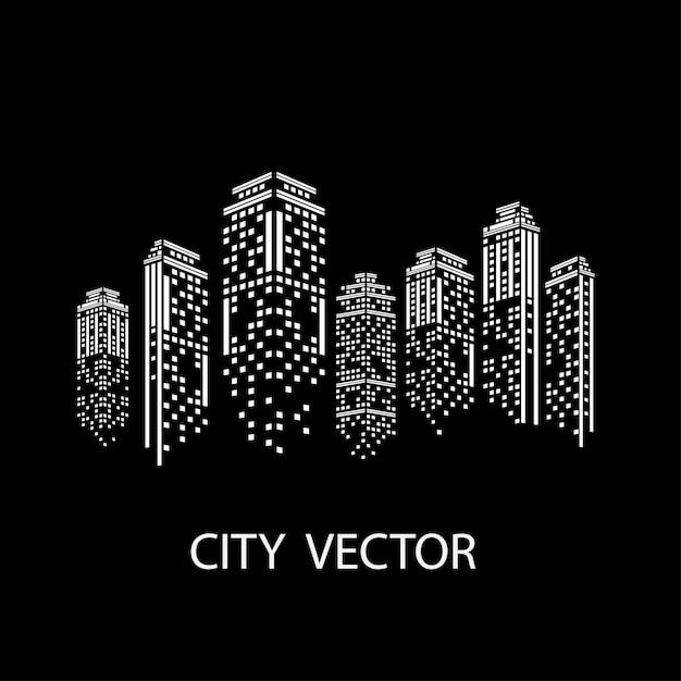 Cidade da noite paisagem moderna da cidade. horizonte da cidade durante o dia. Vetor Premium