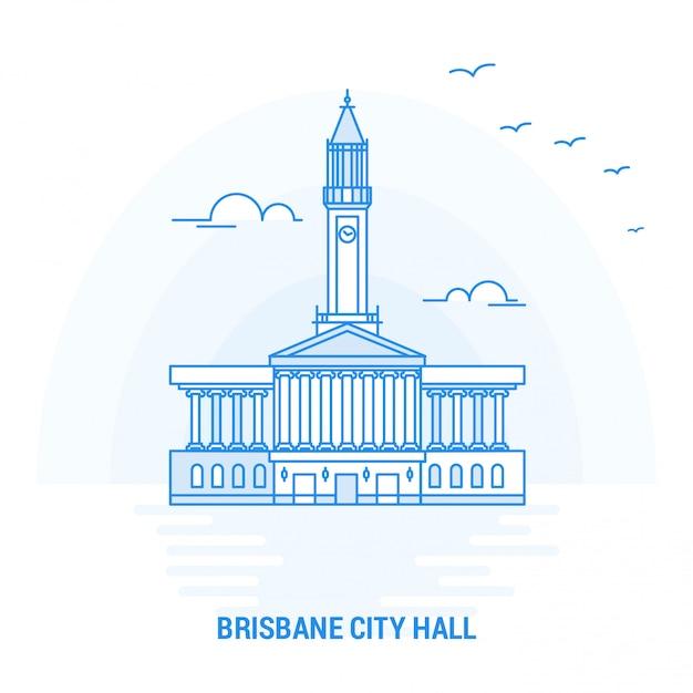 Cidade de brisbane hall blue landmark Vetor Premium