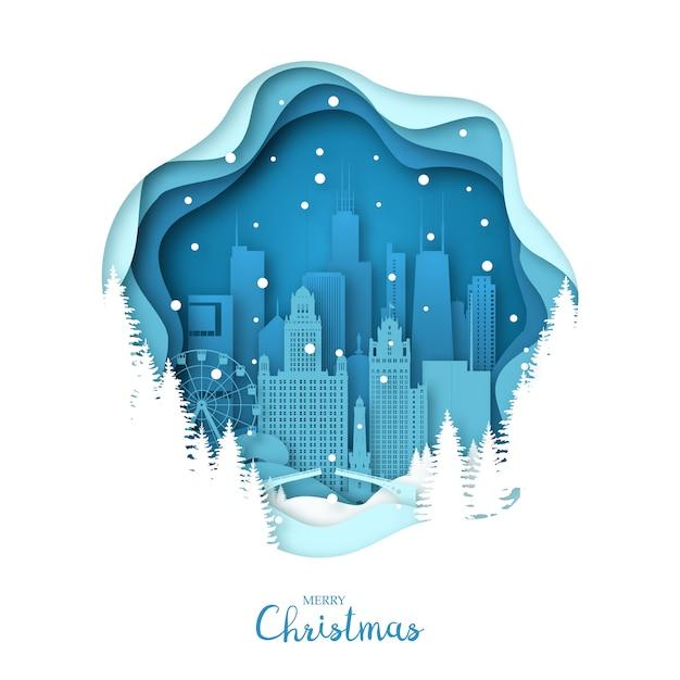 Cidade de chicago nevado em estilo de arte de papel. Vetor Premium