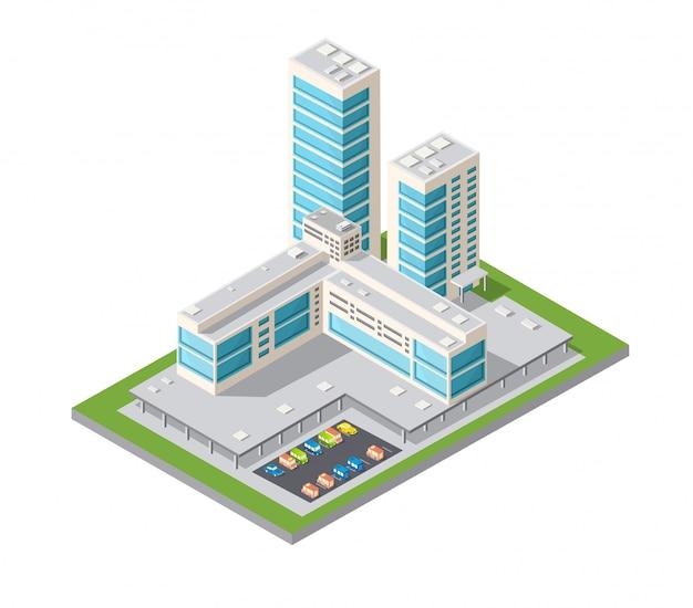 Cidade de design urbano de arranha-céus Vetor Premium