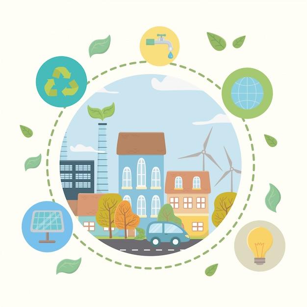 Cidade de eco e salvar o design do planeta Vetor Premium