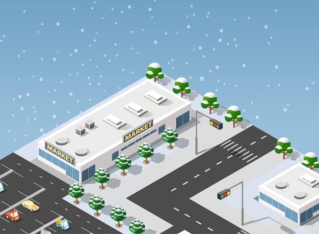 Cidade de ilustração de supermercado isométrica Vetor Premium