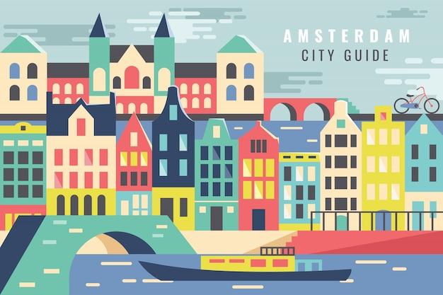Cidade de ilustração vetorial na turnê de amsterdã Vetor Premium