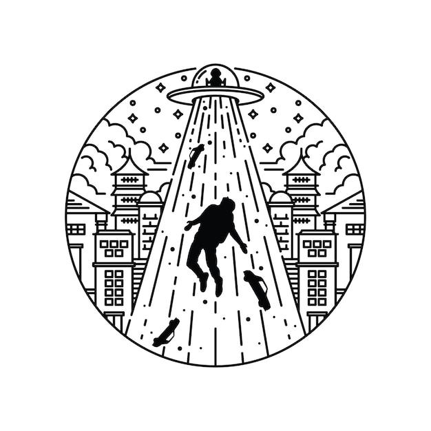 Cidade de invasão alienígena ilustração gráfica Vetor Premium