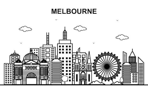 Cidade de melbourne austrália cityscape skyline line outline Vetor Premium