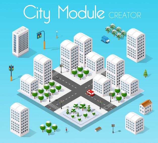 Cidade de módulo conjunto isométrico Vetor Premium