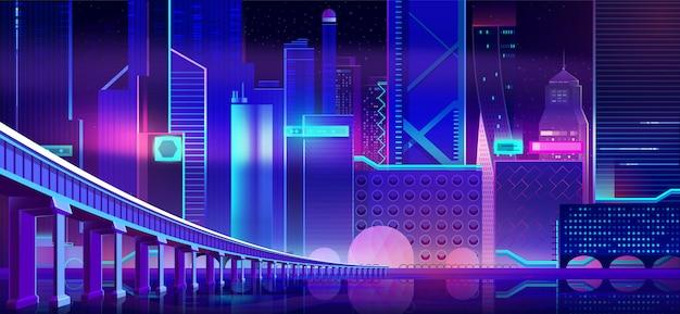 Cidade de néon de noite e ponte acima da superfície da água de baía Vetor grátis