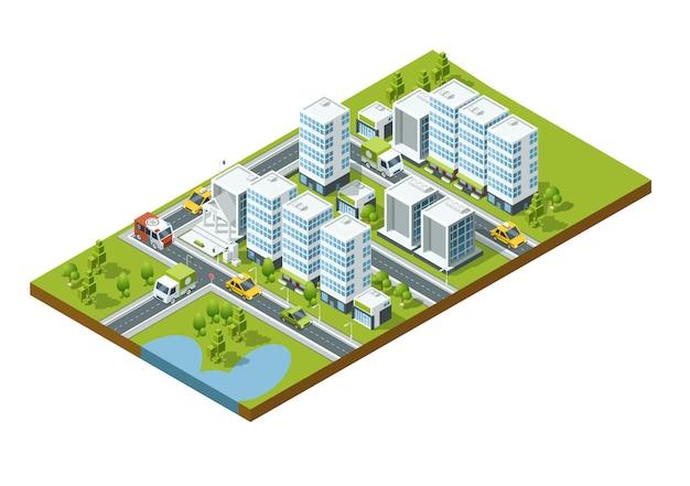 Cidade de perspectiva isométrica com ruas, casas, arranha-céus, parques e árvores Vetor Premium