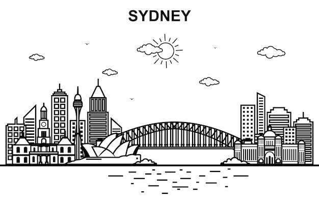 Cidade de sydney austrália cityscape skyline line outline Vetor Premium
