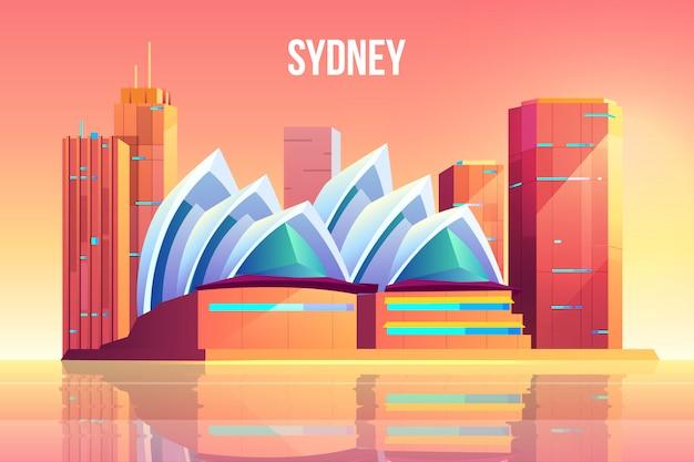 Cidade de sydney com horizonte de teatro de ópera, austrália Vetor grátis