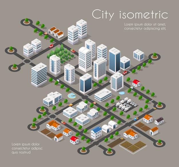 Cidade de transporte 3d Vetor Premium