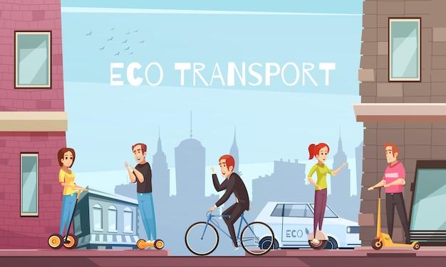 Cidade de transporte ecológico individual Vetor grátis