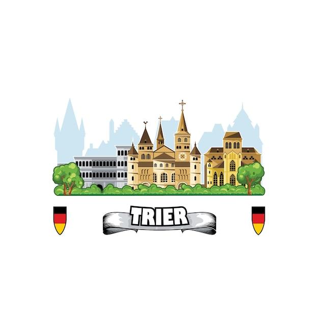 Cidade de trier na alemanha, horizonte com paisagem urbana e arquitetura medieval. Vetor Premium
