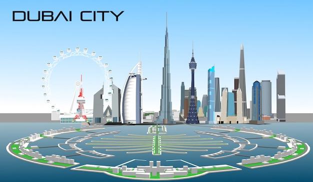 Cidade de vetor dubai Vetor Premium