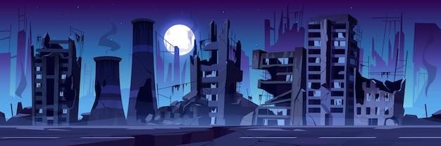 Cidade destruída na guerra, edifícios abandonados à noite. Vetor grátis