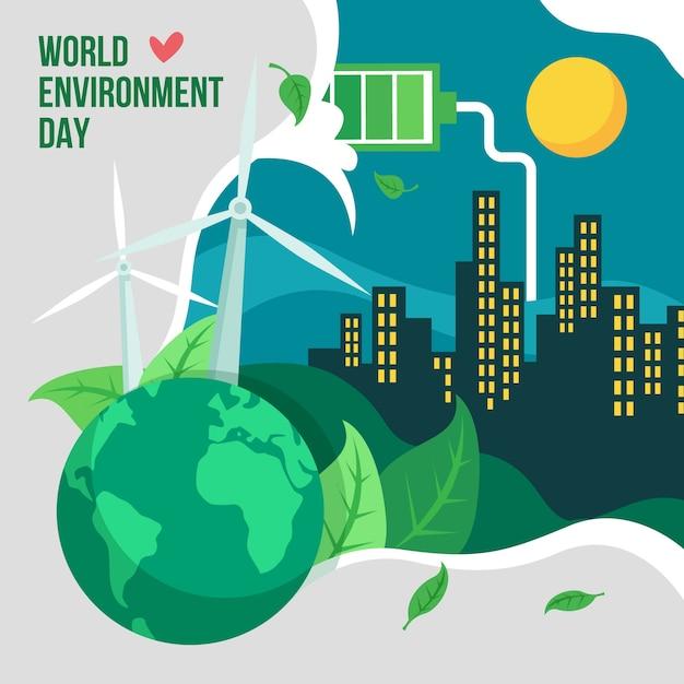 Cidade do dia mundial do meio ambiente à noite Vetor grátis