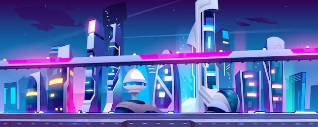 Cidade do futuro com arranha-céus e viaduto Vetor grátis