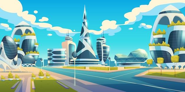 Cidade do futuro, edifícios de vidro futurista de formas incomuns e plantas verdes ao longo da estrada vazia. torres da arquitetura moderna e arranha-céus. design de habitações urbanas alienígenas, ilustração em vetor dos desenhos animados Vetor grátis