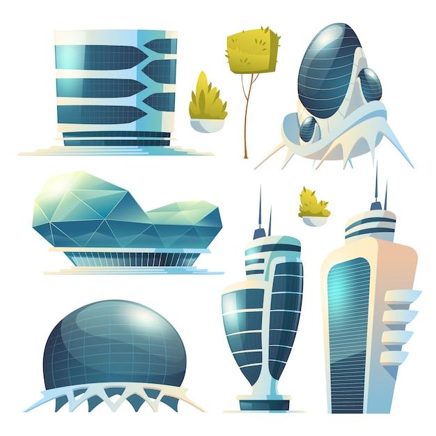 Cidade do futuro, edifícios de vidro futurista de formas incomuns e plantas verdes isoladas Vetor grátis