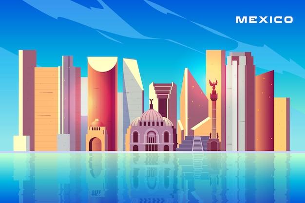 Cidade do méxico horizonte dos desenhos animados com arranha-céus modernos Vetor grátis